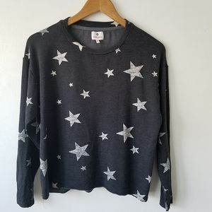 Sundry Star Print Oversized Cropped Sweater Small
